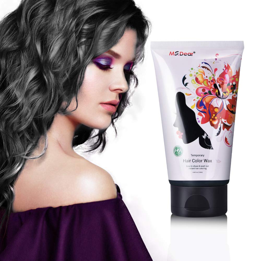 Fun Temporary Hair Color Wax Wash Out Hair Color for Halloween Cosplay Party Hair Dye Wax Styling&Coloring Hair Wax - Wash Off Easily - Fast Coloring on - Zero Damage to Hair (BLACK)