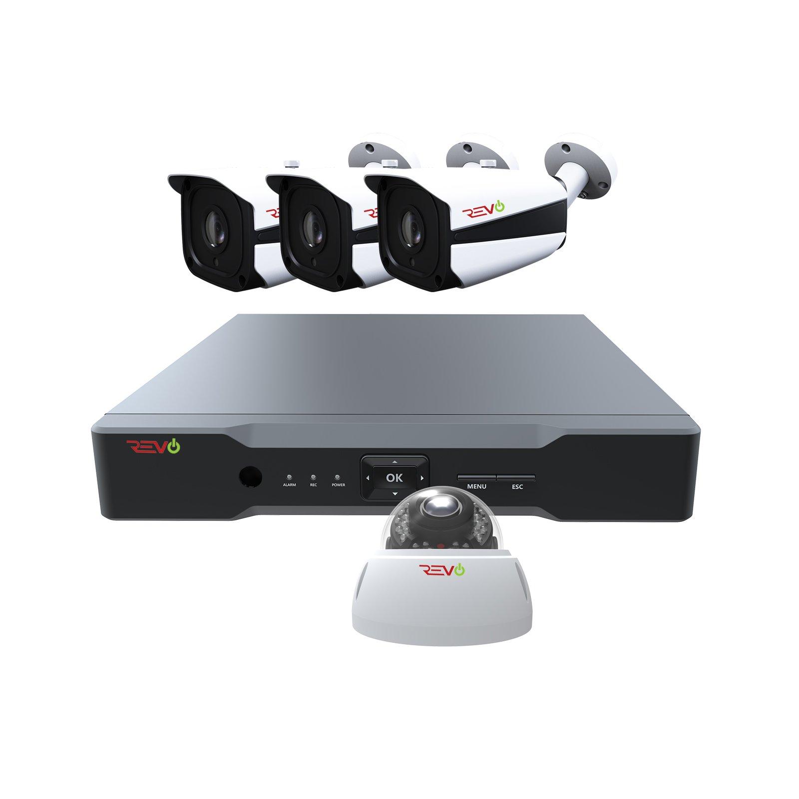 Revo America AeroHD 8Ch. 5MP DVR, 1TB HDD Video Security System, 3 x 5 MP IR Bullet Cameras, 1 x 5 MP IR Vandal Dome Camera Indoor/Outdoor - Remote Access via Smart Phone, Tablet, PC & MAC