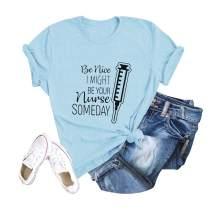 Nurse Shirt Women Cute Letter Printed T-Shirt Junior Inspirational Short Sleeve Casual Top