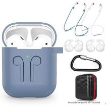 amasing AirPods Case 7 in 1 for Airpods 1&2 Accessories Kits Protective Silicone Cover for Airpod Gen1 2 (Front Led Visible) with 2 Ear Hook /2 Staps/1 Clips Tips Grips/1 Zipper Box Navy Blue
