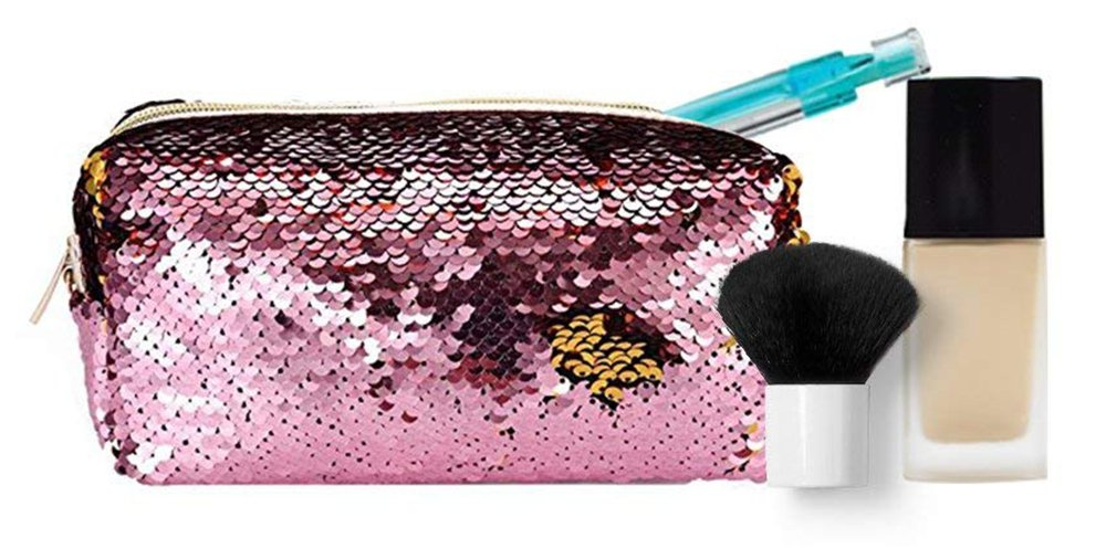 ROOSSI Reversible Sequin Makeup Bags Mermaid Womens Cosmetic Bags Double Color Pencil Case Shiny Pencil Box for Kids or Adult Pink