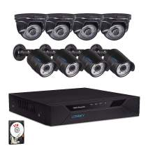 LONNKY Home Security Camera System,8CH Full HD 1080P 5-in-1 DVR Video Recorder and 8PCS 2MP Outdoor Indoor Waterproof Security Bullet and Dome Cameras,Metal Housing,P2P Remote Viewing,2TB HDD(Black)