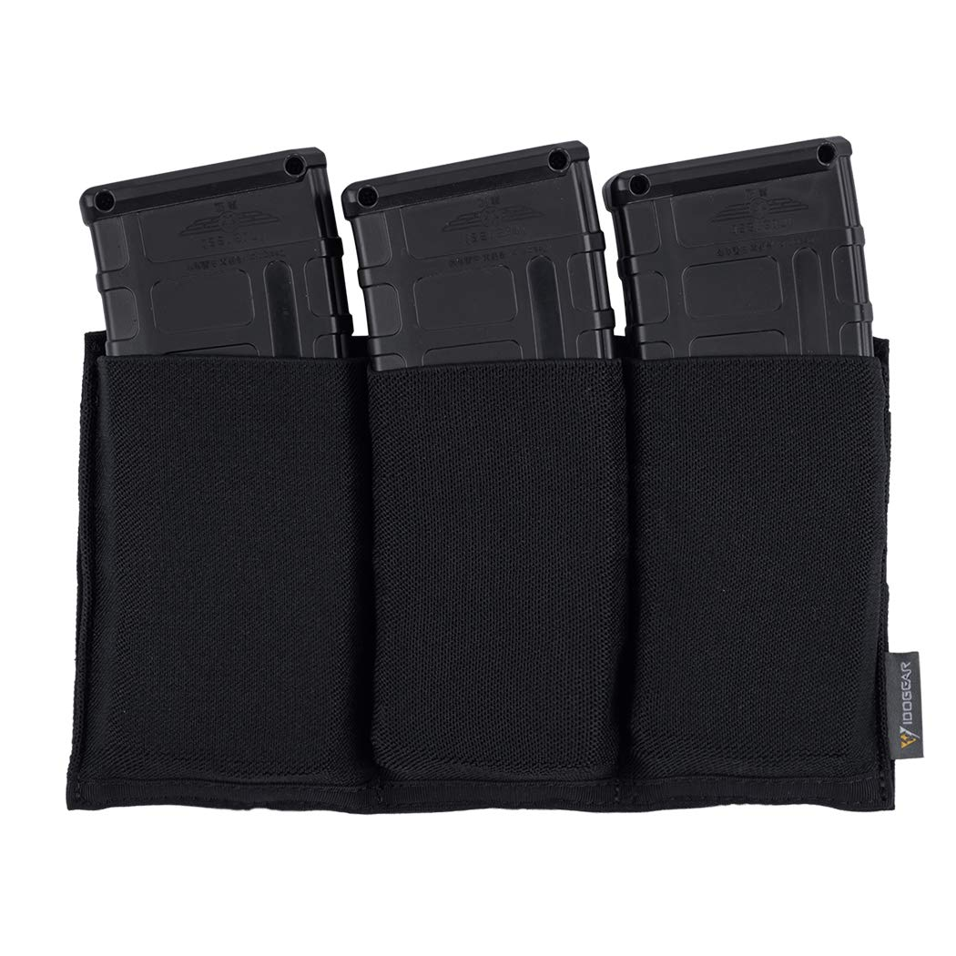 IDOGEAR Triple Mag Pouch Elastic Molle Magazine Pouches Open-top Carrier for M4/M16/AR/AK Rifle Magazines