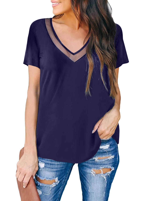 ZKESS Women's Basic V Neck T Shirt Mesh Short Sleeve Tunic Blouse Tops