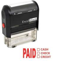 Paid Cash Check Credit - ExcelMark Self-Inking Rubber Stamp - A1539 Red Ink (Stamp Only)