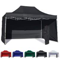 Vispronet 10x15 Instant Canopy Tent and 3 Side Walls – Commercial Grade Aluminum Frame with Water-Resistant Canopy Top and Sidewall – Bag and Stake Kit Included (Black)