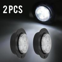 """Partsam LED 2 Inch White Flange Mount Led Marker Lights Truck Trailer 6Diode Panel Light, White Led 2"""" Round Reverse Marker Lights Trailer RV 12v Led Lights, White 2"""" Round Interior Courtesy Light"""