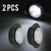 "Partsam LED 2 Inch White Flange Mount Led Marker Lights Truck Trailer 6Diode Panel Light, White Led 2"" Round Reverse Marker Lights Trailer RV 12v Led Lights, White 2"" Round Interior Courtesy Light"