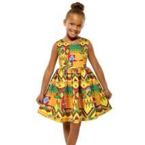 Exlura Little Girls Ruffle Sleeveless Printed Party Dress Casual Summer African Dresses