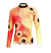 QinYing Cycling Jersey, Bicycle Shirt, Flowers Printing Long Sleeves Bike Top for Women