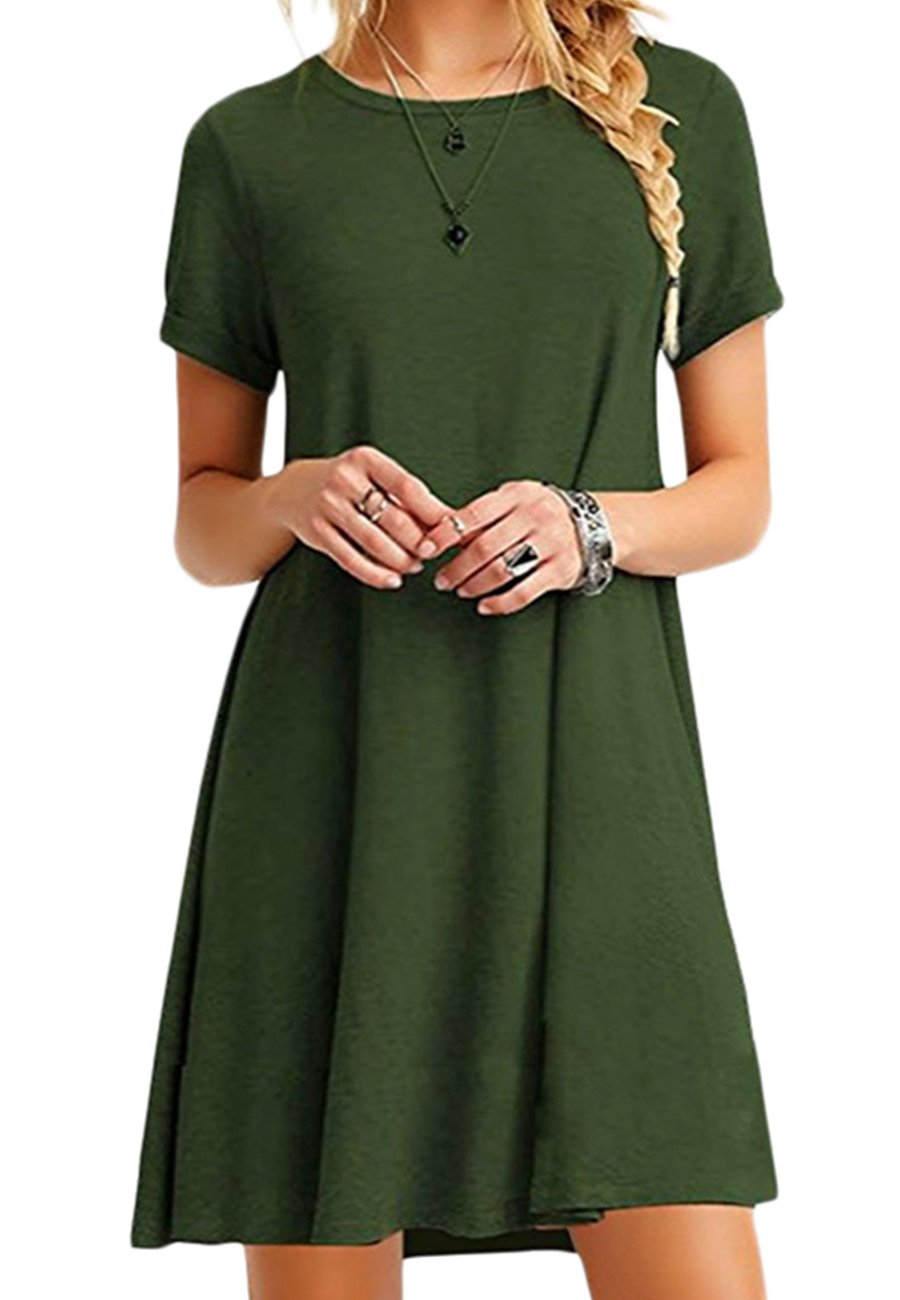OMZIN Women Short Sleeve Loose Casual T-Shirt Tops Dress Plus Size 2XS-5XL