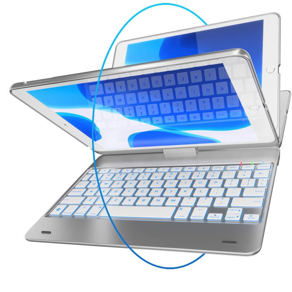 iPad Keyboard Case for iPad 2018 (6th Gen) - iPad 2017 (5th Gen) - iPad Pro 9.7 - iPad Air 2 & 1 - Thin & Light - 360 Rotatable - Wireless/BT - Backlit 10 Color - iPad Case with Keyboard (Silver)