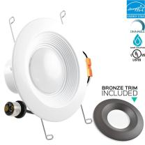 Luxrite 5/6 Inch LED Recessed Ceiling Light Fixture, 15W (120W Equivalent), 5000K Bright White, Bronze Trim Included, 1300LM, LED Retrofit Recessed Light, Dimmable, E26 Base, Energy Star, 1-Piece