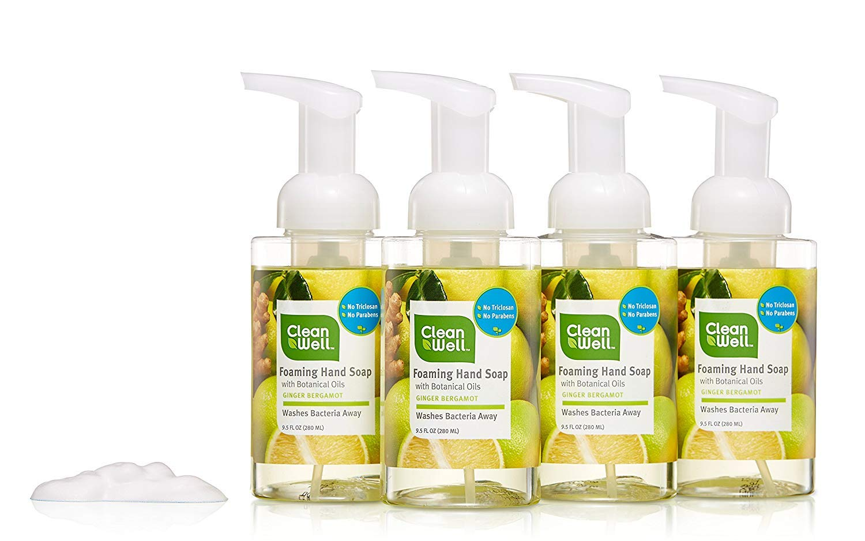 CleanWell Foaming Hand Soap, Ginger Bergamot, 9.5 fl oz (4 PK) - Paraben Free, Alcohol Free, Plant-Based, Cruelty Free, Nontoxic, Kid Friendly, Pump Bottle