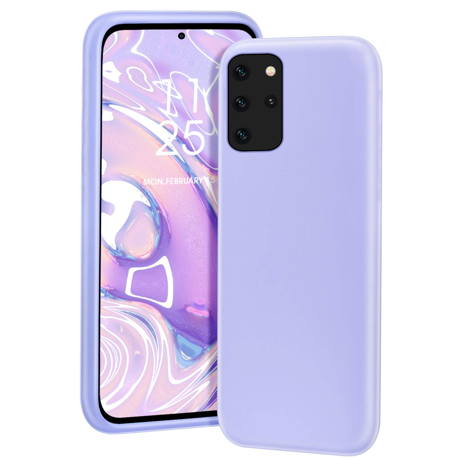MILPROX Galaxy S20 Plus Case, Liquid Silicone Gel Rubber Shockproof Slim Shell with Soft Microfiber Cloth Lining Cushion Cover for Galaxy S20 Plus Phone 6.7 inches (2020)- Light Purple