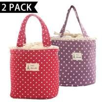 Cotton Linen Canvas Lunch Bag, Fresh Aluminum foil Lunch Bag, Wave Point, 6.3 x 6.3 x 6.7, 2 Pieces in 2, red/Purple