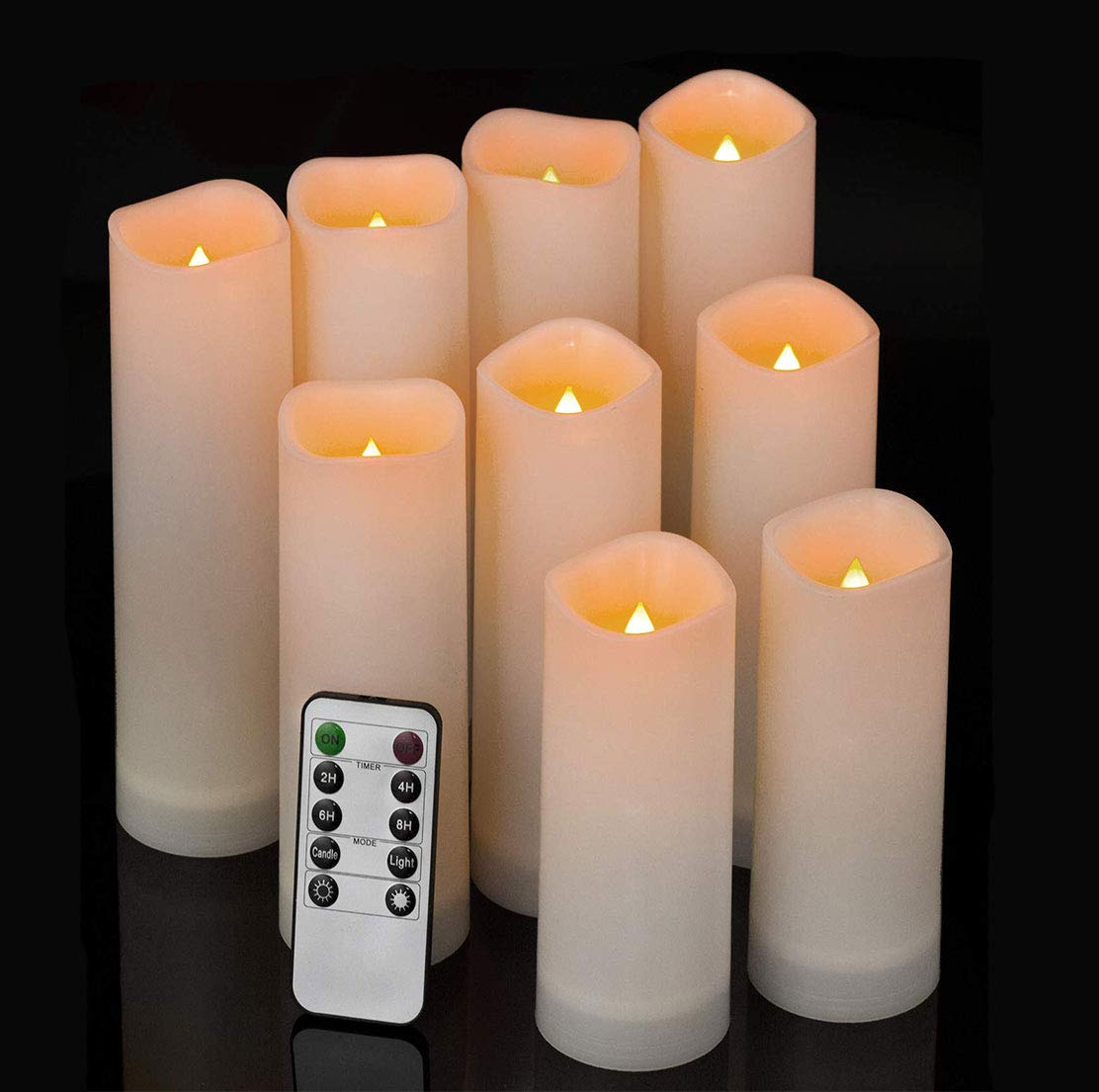 Comenzar Flameless Candles Waterproof Outdoor Indoor led Candles Set of 9 (H 5″ 6″ 7″ x D 2.1″) Battery Operated Candles with Remote Timer(Made of Plastic)