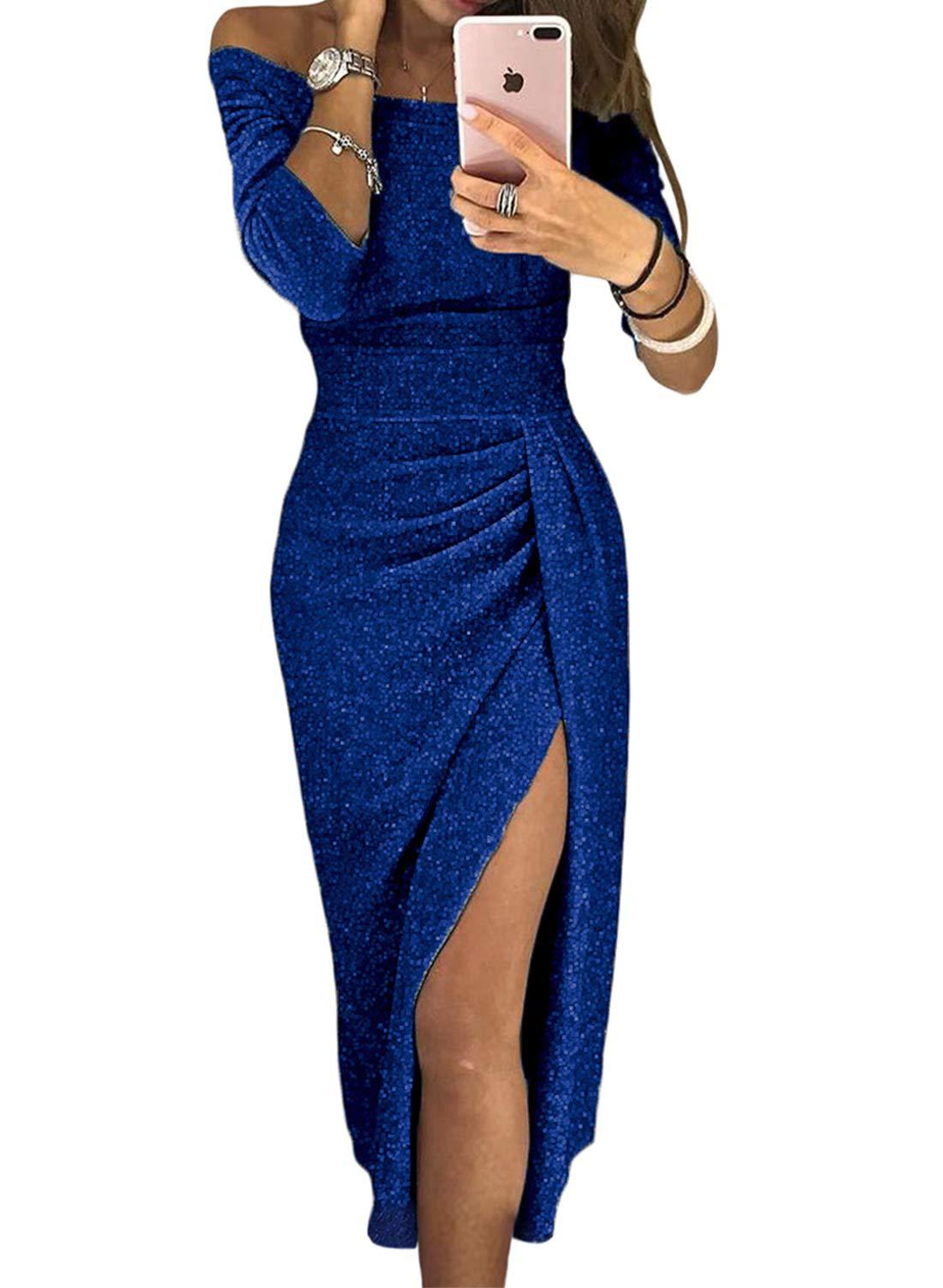 Womens Party Bodycon Midi Dress Off Shoulder Split Sparkly Shiny Ruched Elegant Cocktail Pencil Dress Blue M