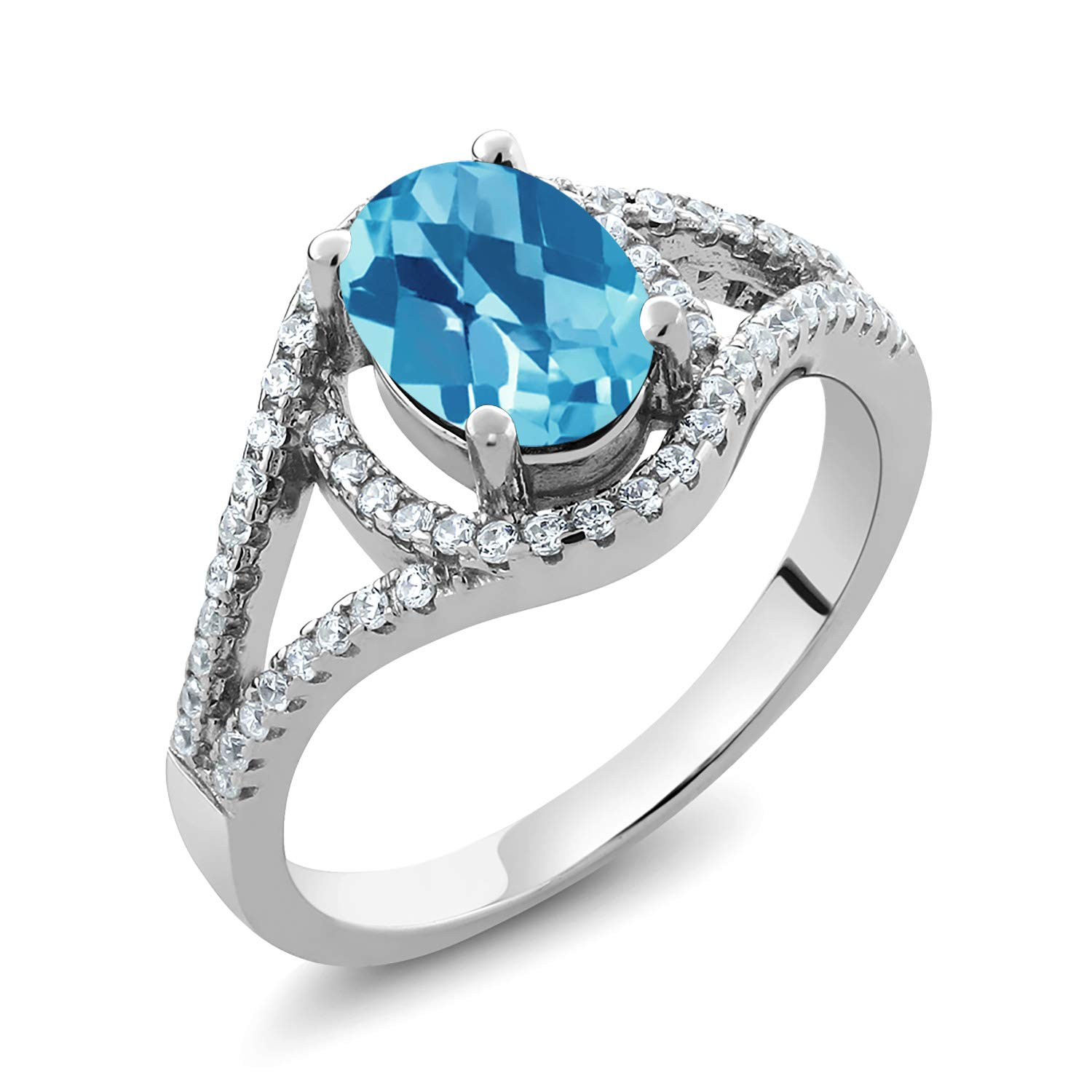 Gem Stone King 925 Sterling Silver Oval Checkerboard Swiss Blue Topaz Gemstone Birthstone Ring 2.01 cttw (Available 5,6,7,8,9)