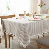 Bringsine Stripe Tassel Tablecloth Cotton Linen Stain Resistant/Dust-Proof Waterproof Table Cloth Cover for Kitchen Dinning Tabletop Decoration (Rectangle/Oblong,55 x 81 Inch, Beige)