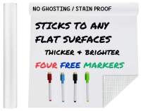 """Extra Large Thicker Whiteboard Contact Paper Vinyl Wall Decal Poster (9 FEET) Self Adhesive Message Board Paint Alternative w/BONUS Dry Erase Markers - Peel and Stick Wallpaper Sizes 17.8"""" X 108"""""""