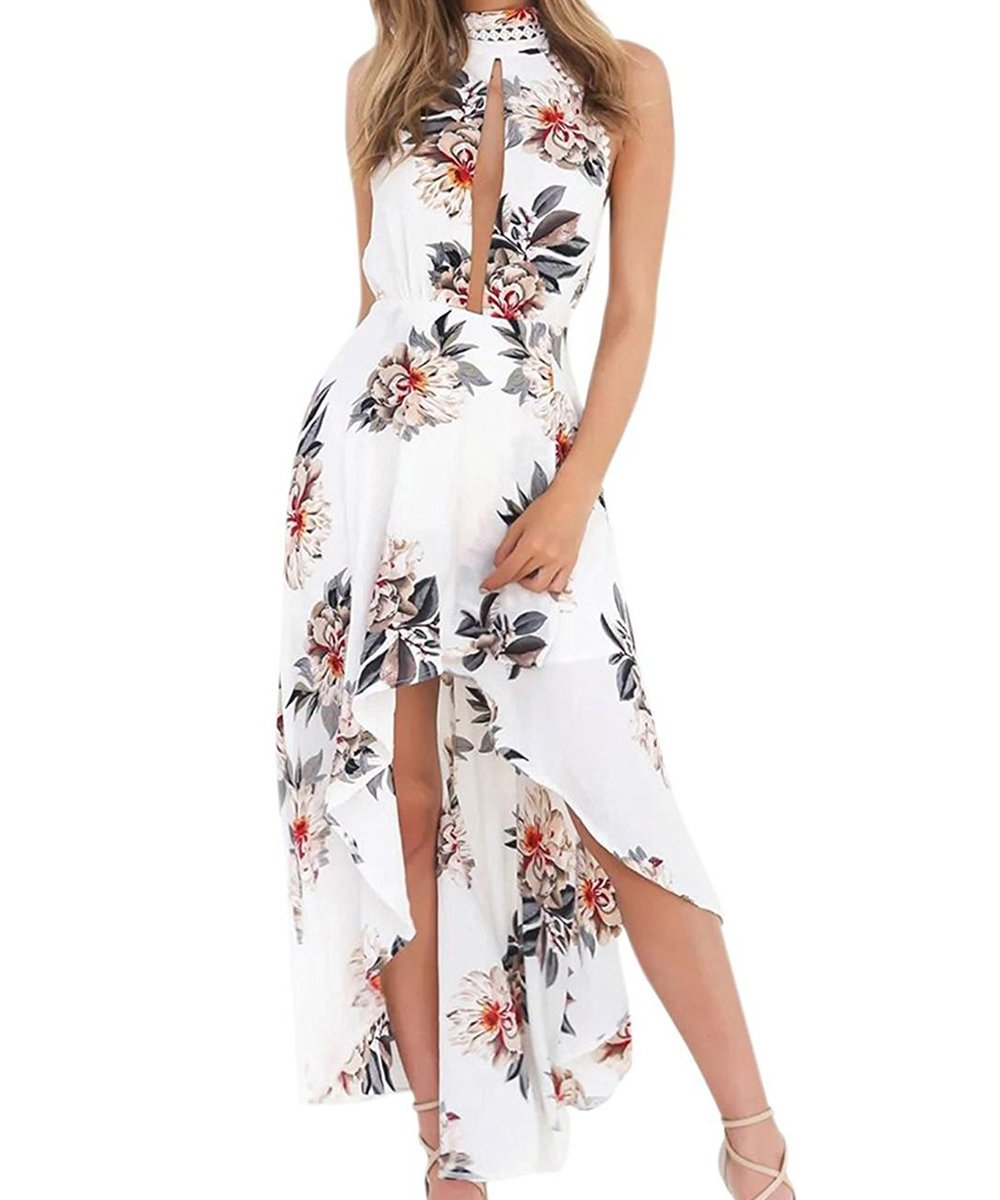 LuckyMore Womens Summer Sleeveless Deep V Neck Backless Beach Party Maxi Dresses