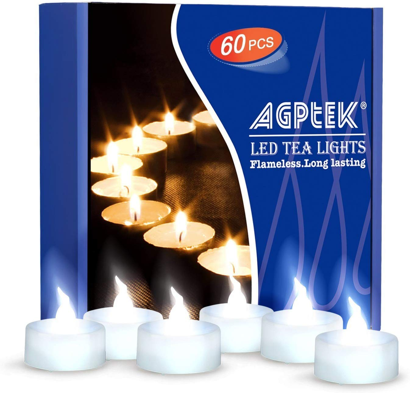 AGPtEK Tea Lights,60 Pack Flameless LED Candles Battery Operated Tealight Candles No Flicker Long Lasting Tealight for Wedding Holiday Party Home Decoration(Cool White)