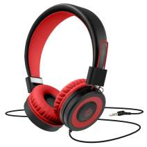 Kids Headphones,Besom i66 for Boys Girls Teens Children Toddler Stereo Adjustable Foldable Tangle-Free Cord 3.5mm Jack Wired Over-Ear Headset for iPad iPhone Computer MP3/4 Kindle Tablet (Red)