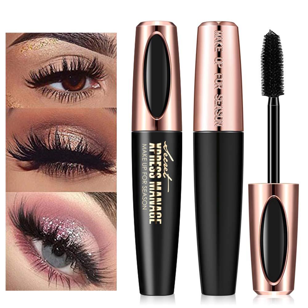 Lash Mascara,4D Silk Fiber Eyelash Mascara, Extra Long Lash Mascara Waterproof Not Blooming Curling Natural Eye Makeup Long Lasting Black