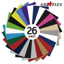 """GIO-FLEX PU Heat Transfer Vinyl 10"""" x 12"""" - 26 Sheets HTV Assorted Colors Bundle/Variety Pack, Adhesive Vinyl, Iron-On Transfer, Heat Press, DIY Design for T-Shirts, Easy to Weed"""