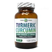 Terra Firma Turmeric Curcumin 1100mg Plus Bioperine, Non-GMO and Stearate Free, Daily Joint Support & Healthy Inflammatory Response - 120 Vegetarian Liquid Capsules in Glass Bottle