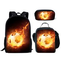 Coloranimal 3PCS/Sets of Soccer Design School Bag+Lunch Box+Pen Cover Case