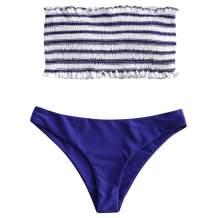 ZAFUL Women's Striped Smocked Bandeau Bikini Set Strapless Shirred Padded Two Piece Swimsuits