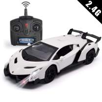 QUN FENG Remote Control RC CAR Racing Cars Compatible with Lamborghini Veneno 2.4G 1:24 Toy RC Cars Model Vehicle for Boys 6,7,8 Years Old,White