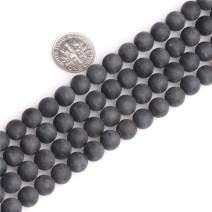 JOE FOREMAN Black Tourmaline Spacer Gemstone Beads 8mm Frost Matte Round for Jewelry Making Strand 15""