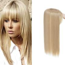 17 Inches Long Straight Synthetic Clip In Crown Toppers Silky For Women Top Toupee Hairpiece With Wispy Thin Air Bangs Middle Part With Thinning Hair (Ash Blonde)