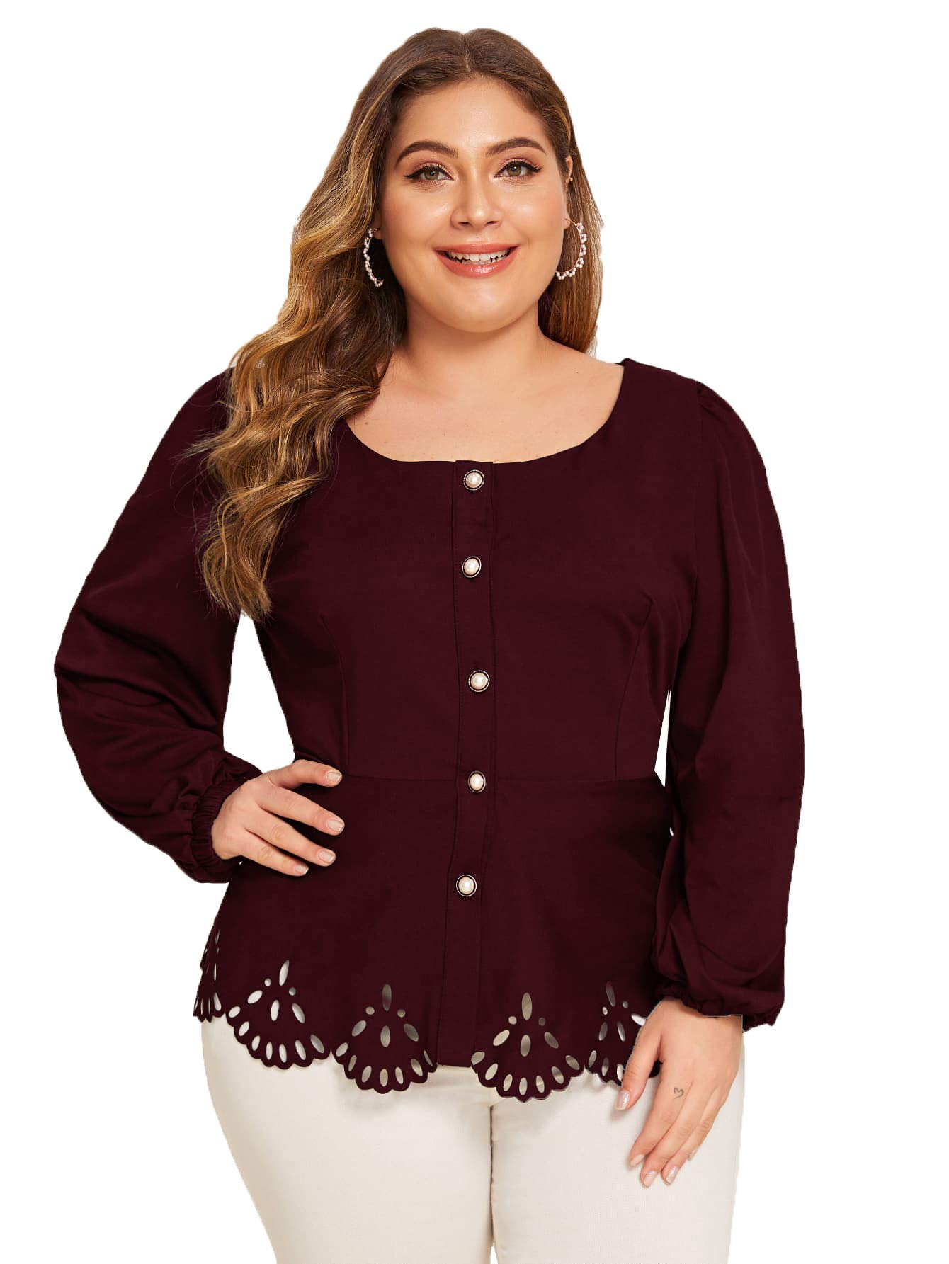 Romwe Women's Plus Size Long Sleeve Buttons Hollow Out Scalloped Blouse Top