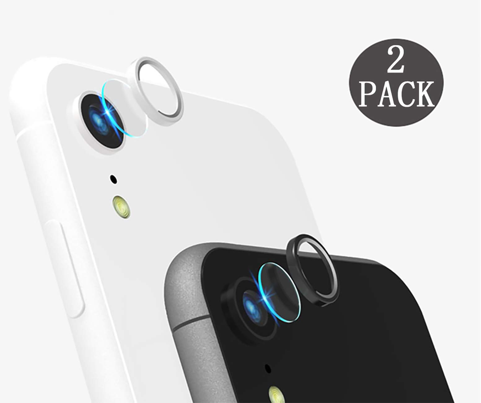 [2 Pack] Tempered-Glass Camera Protector for iPhone Xr 2.5D Ultra Thin HD Anti-Fingerprint Protective Clear Film for iPhone Lens with 2 Phone Camera Covers (iPhone Xr)