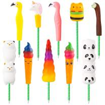 GROBRO7 10Pcs Animal Squishy Pen Set Cream Scented Slow Rising Squishy Exquisite Pencil Pen Grip, Kawaii Party Favor/School Supplies/Office Decor/Stress Relieve Gifts for Kids and Adults