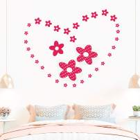 Flower Heart Graphic Kids Vinyl PVC Wall Stickers Star Decals Window Peel and Stick Nursery Babies Boy Baby Cute Design Girls Bedroom Living Room Decor Adhesive Decoration Home Décor Art