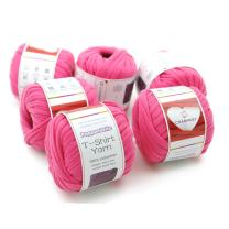 Charmkey Pappardelle T Shirt Yarn Soft 100% Polyester Fabric 7 Jumbo Fashion Knitting Cloth Tape for Crocheting Bags Bowls DIY Handicraft, Pack of 6 Skeins, 1.41 Ounce×6 (Fandango Pink)