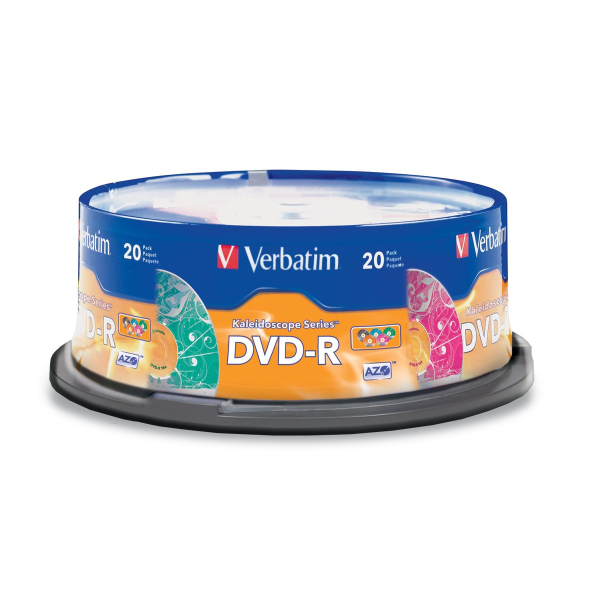 Verbatim 97503 DVD-R 4.7GB 16x  Kaleidoscope Recordable Media Disc - 20 Disc Spindle - Assorted Colors