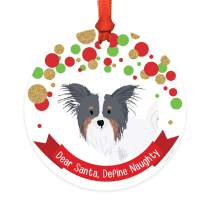 Andaz Press Dog Round Metal Christmas Ornament Gift, Black, White and Tan Brown Papillon, Dear Santa Define Naughty, 1-Pack, Novelty Birthday Ideas for Dog Lovers