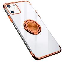 GRKJGytech iPhone 11 Case with Ring Holder, Magnetic Car Kickstand Clear Slim Fit Soft Flexible TPU Silicone Protective Cover for iPhone 11 (Rose Gold)