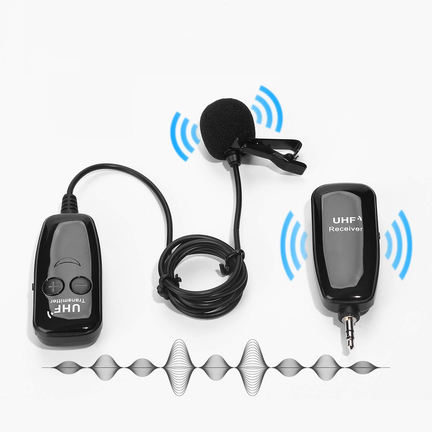 Professional Wireless Lavalier Lapel Microphone Clip-On Omnidirectional Mic for Recording Interview, Podcast