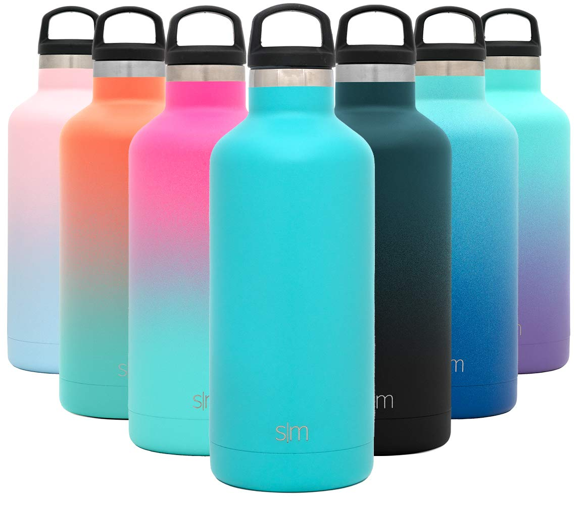 Simple Modern 32oz Ascent Water Bottle - Hydro Vacuum Insulated Tumbler Flask w/Handle Lid - Teal Double Wall Stainless Steel Reusable - Leakproof: -Caribbean