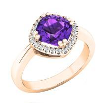 Dazzlingrock Collection 14K 7 MM Cushion Gemstone & Round White Diamond Ladies Bridal Halo Engagement Ring, Rose Gold