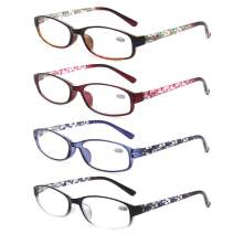 Ladies Reading Glasses 4 Pairs Spring Hinge Readers Glasses for Reading Men and Women