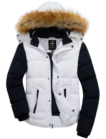 Wantdo Womens Quilted Winter Coat Warm Puffer Jacket Thicken Parka with Removable Hood