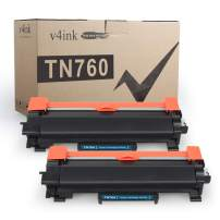 V4INK 2PK Compatible Toner Cartridge for Brother TN760 TN-760 TN730 Toner Cartridge Ink for Brother HL-L2350DW HL-L2390DW HL-L2395DW HL-L2370DW DCP-L2550DW MFC-L2710DW MFC-L2730DW MFC-L2750DW Printer